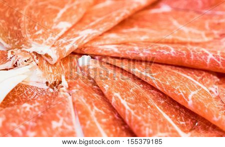 Japanese Sliced Shabu Shabu Meat. Cow beef sliced in thin pieces to be use in hot pot Japanese Shabu Shabu, Yakiniku or Sukiyaki. Beef will be boiled for a couple or second only so it has to be thin.