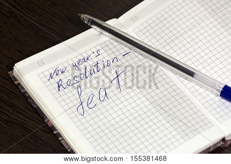 entry in the notebook new year resolution Christmas promise feat pen