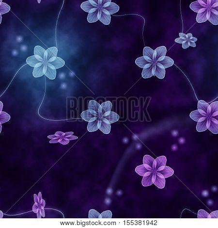 blue purple flower shine seamless background pattern