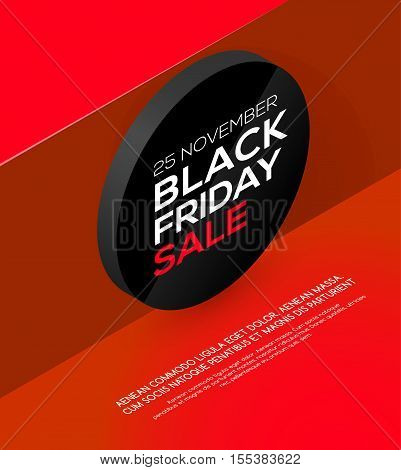 Black Friday sale. Isometric style. Black Friday sale inscription on abstract isometric coin. Sale and discount. Black Friday banner.