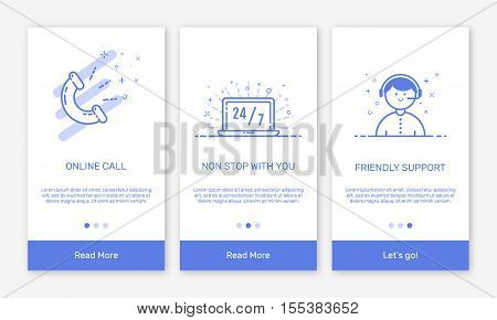 Vector Illustration of onboarding app screens and flat line web icons for e-commerce mobile apps . Modern interface UX, UI GUI screen template for mobile smart phone or responsive web site.