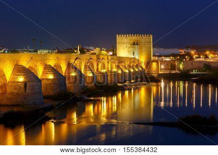 Illuminated Puente Romano, Roman bridge, across Guadalquivir river and and Torre de Calahorra, Calahorra Tower, Cordoba, Andalusia, Spain