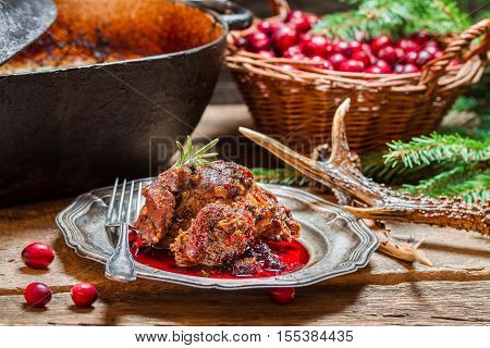 Venison With Cranberry Sauce In The Forester