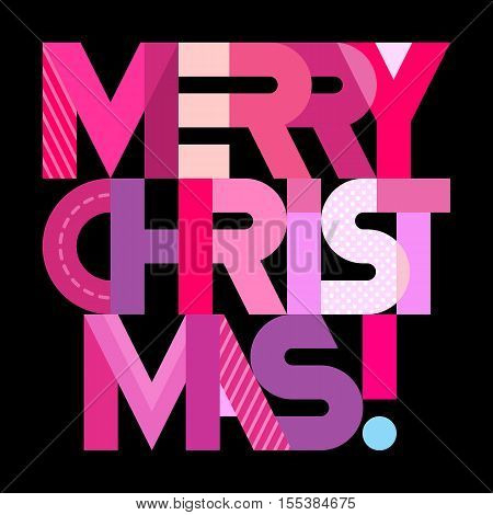 Merry Christmas! - vector decorative text architecture. Lettering design isolated on a black background.
