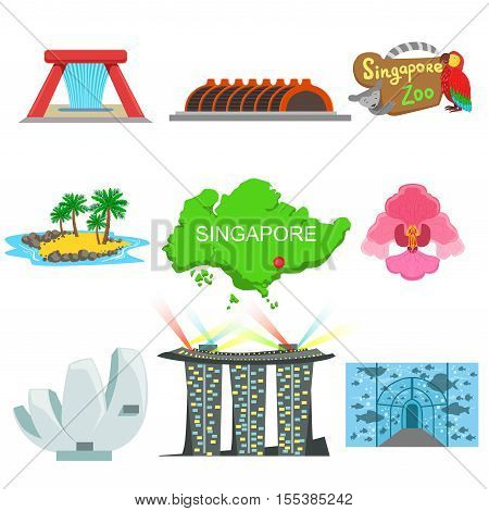 Singapore Touristic Symbols Collection. Isolated Objects Representing Singapore Culture On White Background
