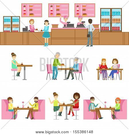 People In Sweet Bakery Cafe Set Of Illustrations. Tables And Counter With Happy Clients Primitive Flat Vector Drawings On White Background.
