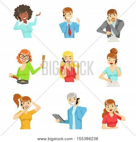 People Speaking On The Phone Set Of Illustrations. Men And Women Talking On Mobile Phone Colorful Vector Icons Isolated On White Background.