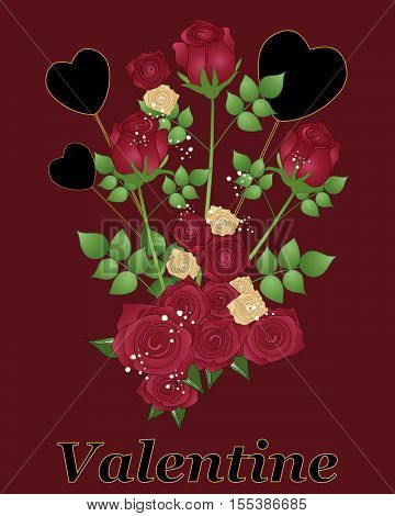 an illustration of a valentine bouquet design with red roses and black hearts in a greeting card format