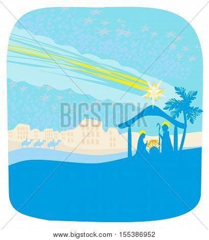 birth of Jesus in Bethlehem - abstract card , vector illustration