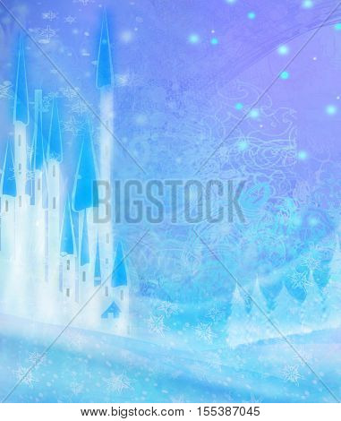 Abstract Winter landscape with castle , raster