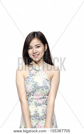 Asian woman smiling with dimple long hair black eyes on white background