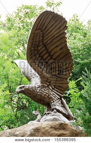 Simbol of town Kislovodsk bronze eagle with wings upward