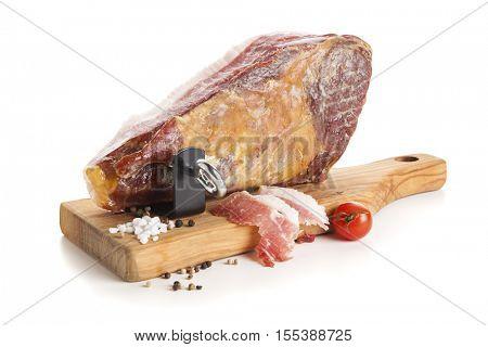 Serrano Ham mounted on Ham Holder isolated on white background
