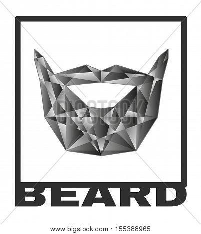 Beard logo. grafic poly beard isolated ollustration vector