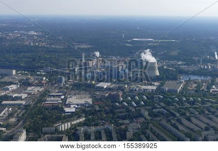 BERLIN GERMANY. SEPTEMBER 2ND 2016 - Aerial view of power plant cooling tower