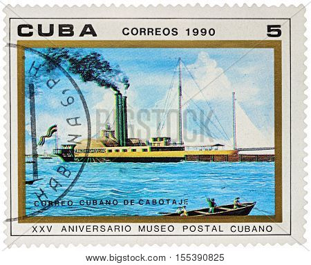 MOSCOW RUSSIA - NOVEMBER 06 2016: A stamp printed in Cuba shows old paddle steamer