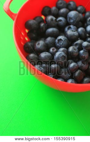 Blueberries in a red colander on a vibrant green background with copy space