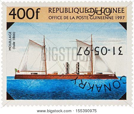 MOSCOW RUSSIA - NOVEMBER 06 2016: A stamp printed in Guinea shows old Italian warship