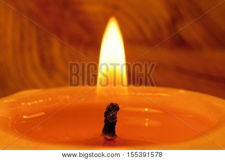 Close-up of wick and flame of burning candle on wood annual rings background.