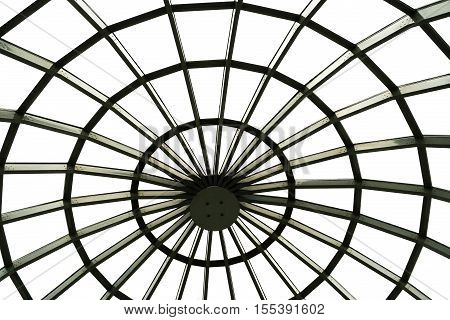 Close-up of metal structure transparent dome of building.View from inside.