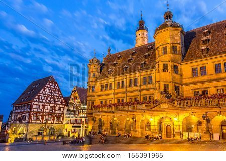 Rothenburg City hall of historic town at Rothenburg ob der Tauber, Franconia, Bavaria, Germany sunset