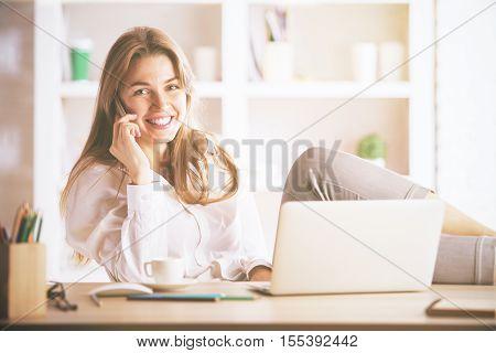 Gorgeous Businesslady Talking On Phone