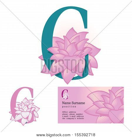 Creative logo for the company's corporate identity: a flower in the letter c, floral, feminine, eco-friendly style