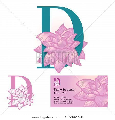 Creative logo for the company's corporate identity: a flower in the letter d, floral, feminine, eco-friendly style
