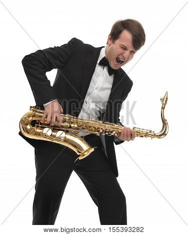 Saxophonist playing saxophone hard rock with a funny face. On white background.