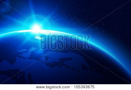 Sun raising over the blue planet earth. Vector illustration.