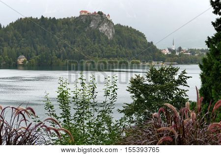 Bled Slovenia. September 6th 2016: Bled Castle built on top of a cliff overlooking lake Bled located in Bled Slovenia.