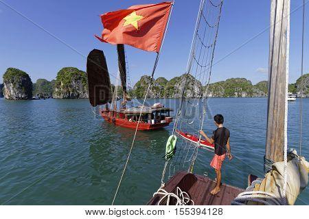 Cat Ba, Vietnam, October 27, 2016 : Scene Of Navigation In Cat Ba Archipelago, The Southeastern Edge