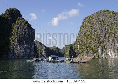 Cat Ba, Vietnam, October 27, 2016 : Fishermen Village. Cat Ba Archipelago Makes Up The Southeastern