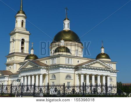 Russia orthodox architecture. Spaso-Preobrazhensky cathedral church in Nevyansk, Sverdlovsk region