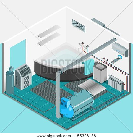 Heating cooling system interior isometric template with conditioner compressor battery bath in flat style isolated vector illustration