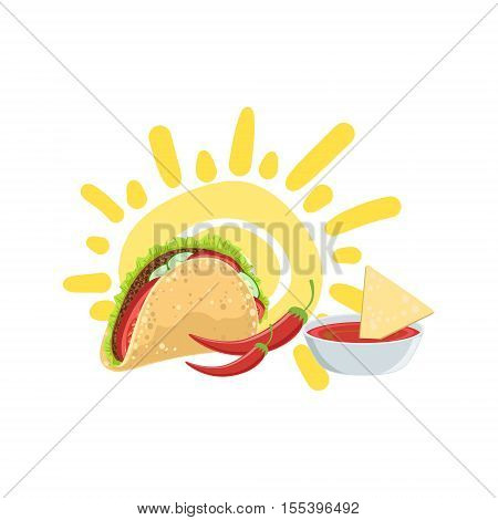 Taco And Nachos Mexican Culture Symbol. Isolated Bright Color Vector Object Representing Mexico On White Background