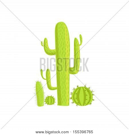 Cacti Mexican Culture Symbol. Isolated Bright Color Vector Object Representing Mexico On White Background