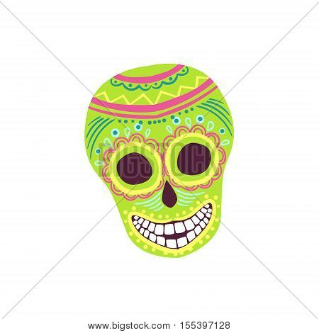 Painted Scull Mexican Culture Symbol. Isolated Bright Color Vector Object Representing Mexico On White Background