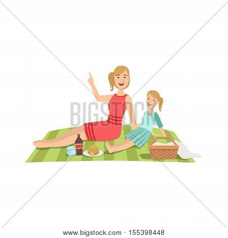 Mother And Child Having Picnic Together Illustration. Cute Simple Cartoon Style Drawing Of Single Mom And Her Kid Pastime.