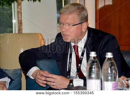 Bled, Slovenia. September 6th 2016. Stefan Fule former European Commissioner for Enlargement and ENP during the meeting