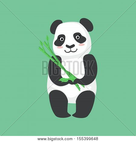 Cute Panda Character Holding Bamboo Sticks Illustration. Cartoon Animal Icon In Girly Style On Green Background.