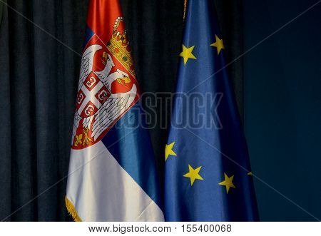 Flags Of Serbia And European Union