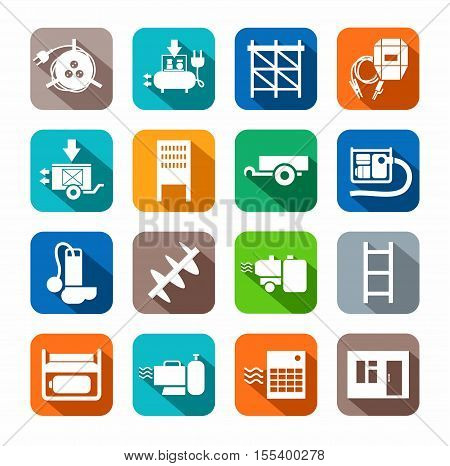 Electrical equipment and construction tools flat icons colored. White, vectors, electrical, gas and construction equipment on a colored background with a shadow.