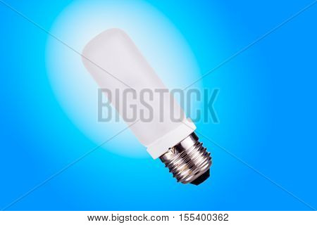 Light bulb over white and blue gradient background