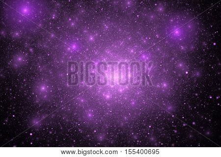 Supernova Explosion. Abstract Colorful Purple And Pink Sparks On Black Background. Fantasy Fractal T