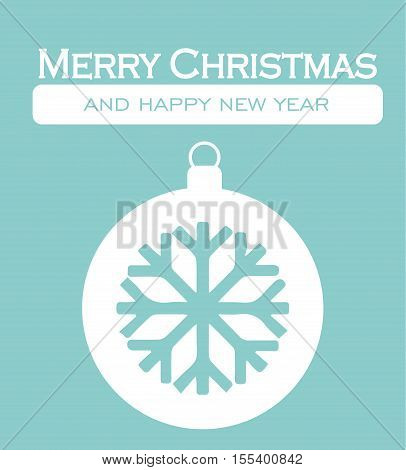 Christmas Card - Merry Christmas Happy New Year Decorative Postcard Letter Snowflake Background Illustration Vector Flat Stock