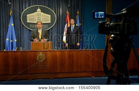 Belgrade Serbia. September 11th 2016: Serbian Prime Minister Aleksandar Vucic and Johannes Hahn Commissioner for European Neighbourhood Policy & Enlargement Negotiations holds a joint press conference in Media Center of Government of Serbia.