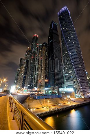 Dubai Marina at night in United Arab Emirates