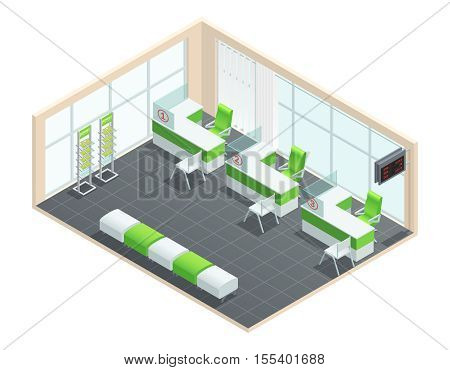Color isometric concept of bank manager room with green and white palette vector illustration