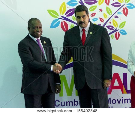 Porlamar Venezuela. September 17th 2016: Angolan vice president Manuel Domingos Vicente and Venezuelan President Nicolas Maduro before the opening ceremony at the Non-Aligned Movement summit in Porlamar Margarita Island Venezuela